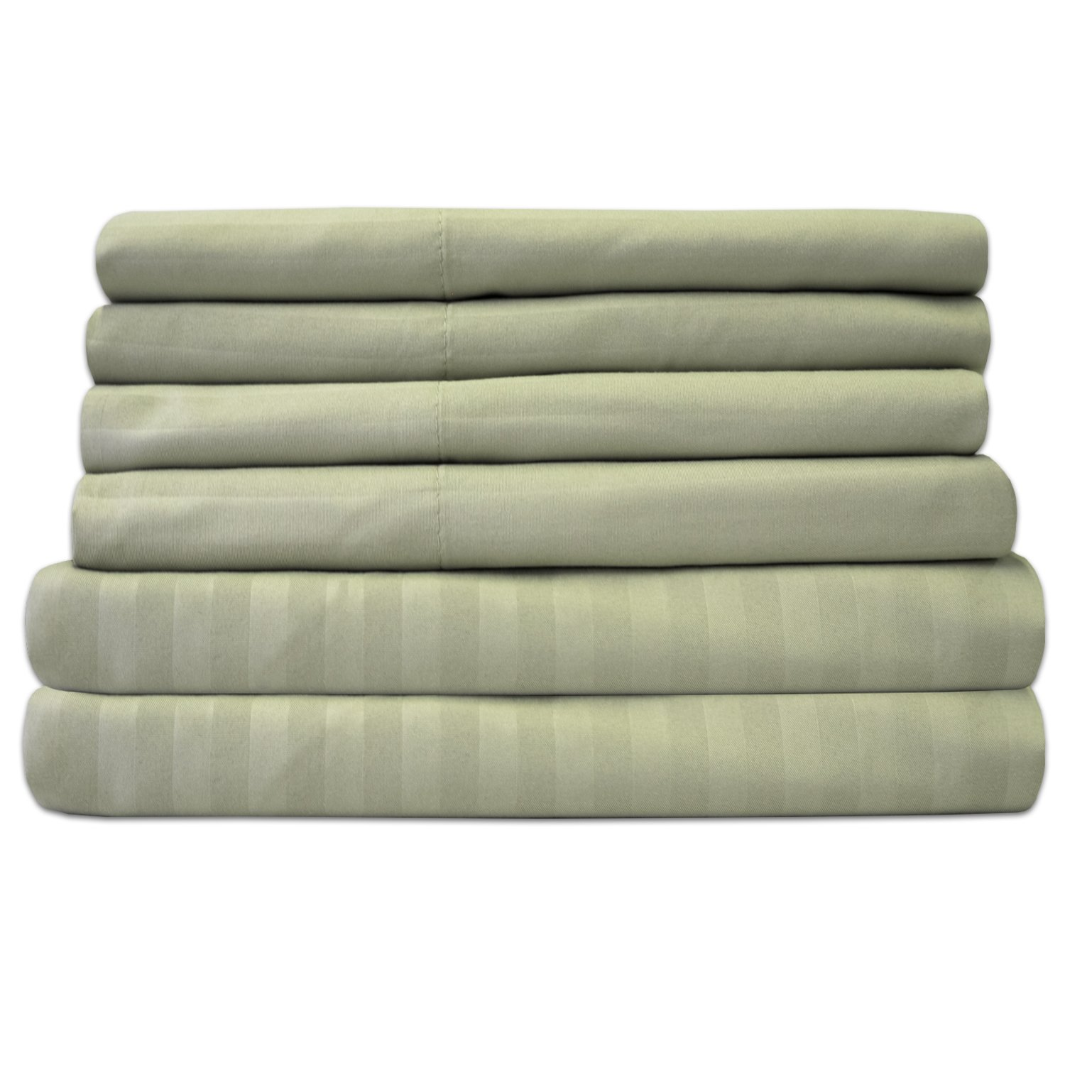 Sweet Home Collection 6 Piece 1500 Thread Count Egyptian Quality Deep Pocket Bed Sheet Set, California King, Dobby Sage, 6