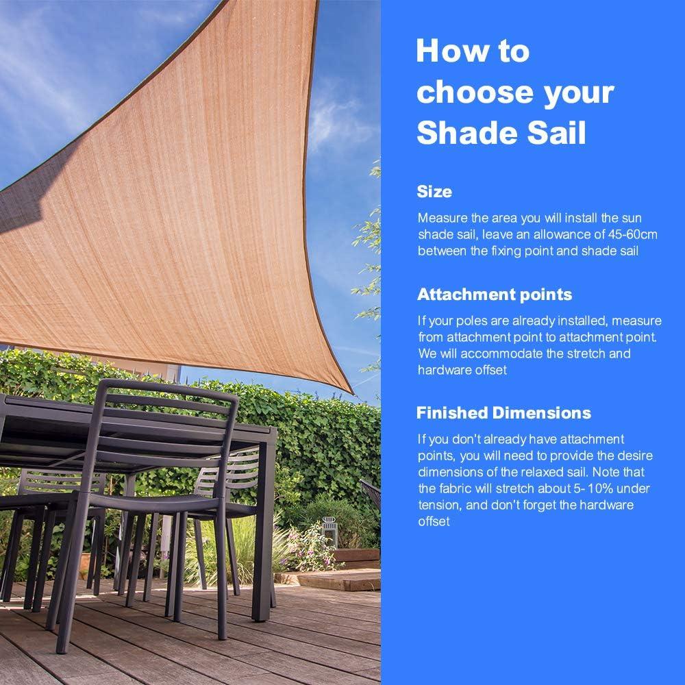 Creme wei/ß Cool Area Sonnensegel Rechteck 2.5 x 4 Meter Sonnenschutz HDPE wetterbest/ändig f/ür Garten und Balkon