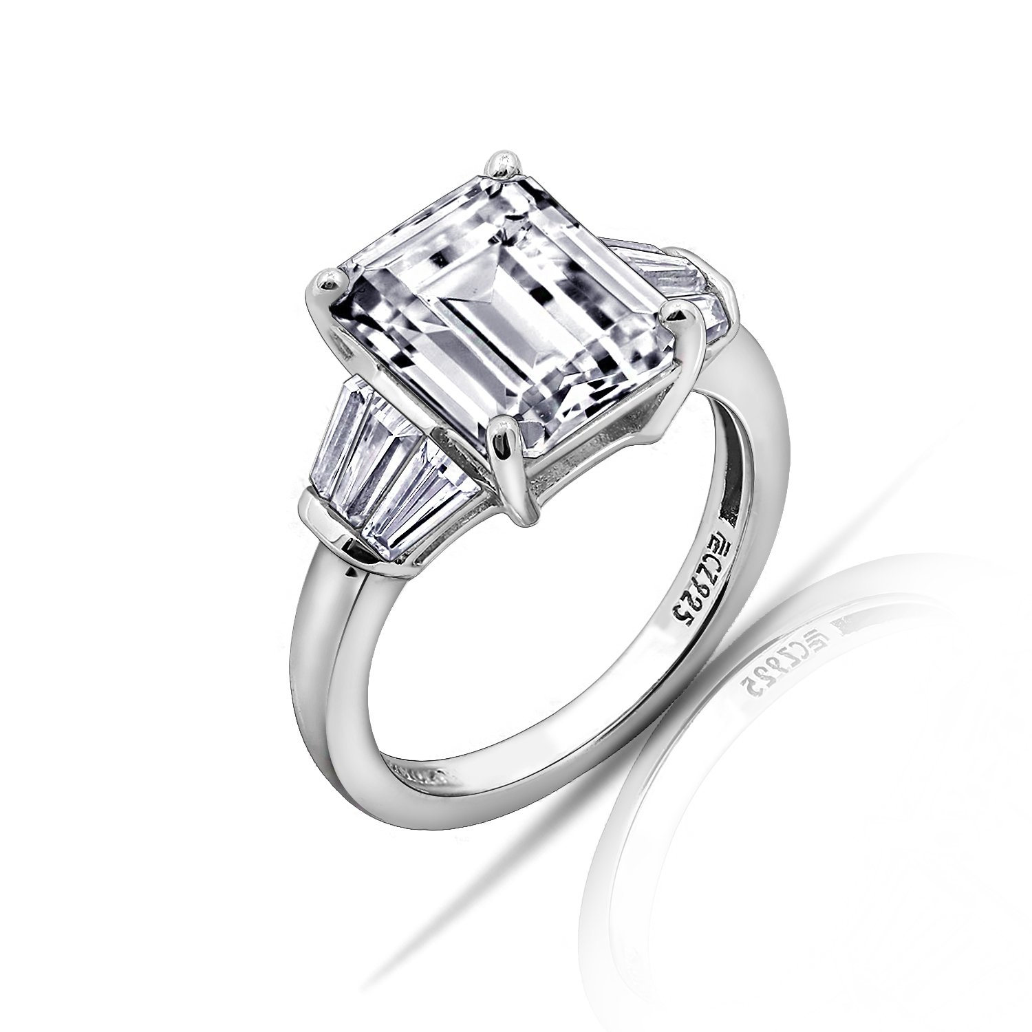 DIAMONBLISS Platinum Sterling Silver Cubic Zirconia Emerald Cut Ring, Size 8