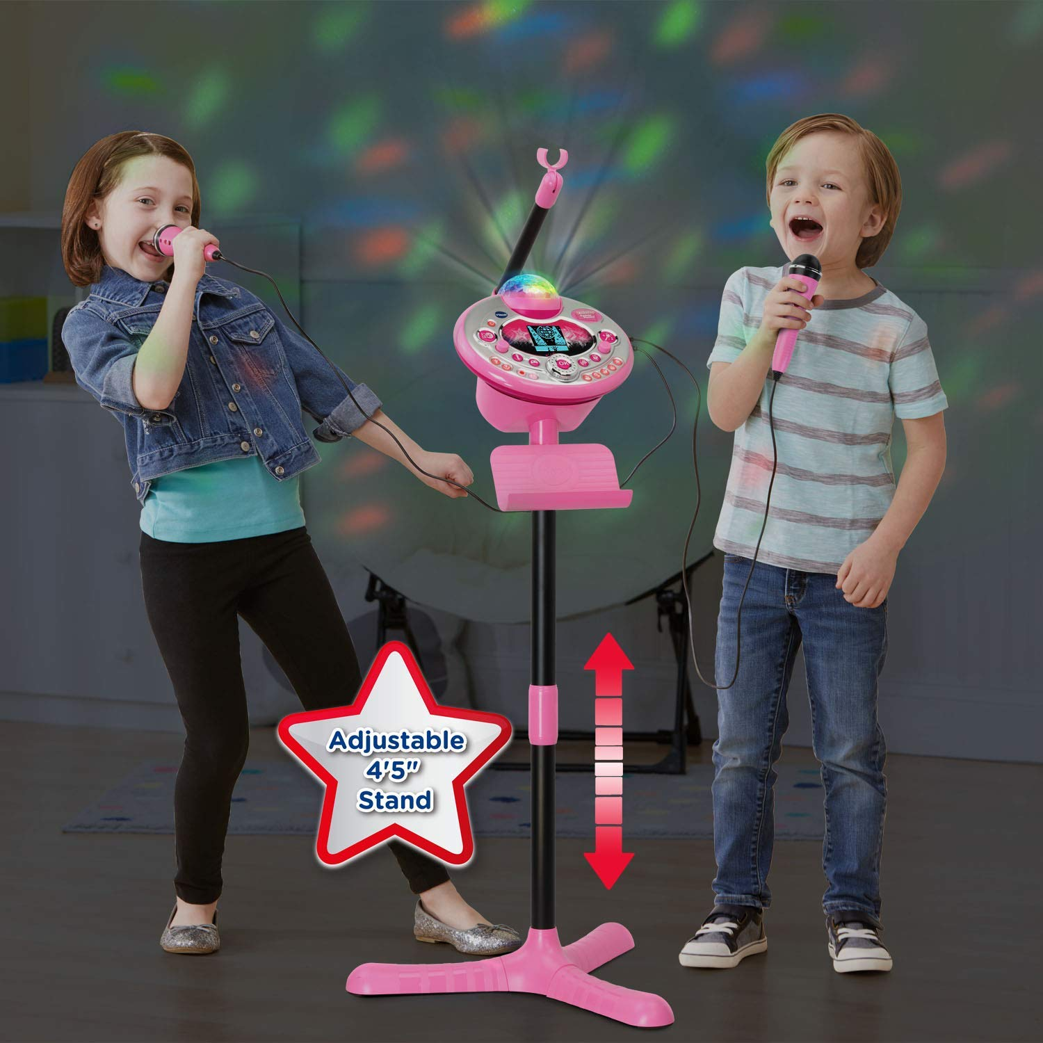 VTech Kidi Star Karaoke System 2 Mics with Mic Stand & AC Adapter, Pink (Renewed) by VTech (Image #6)