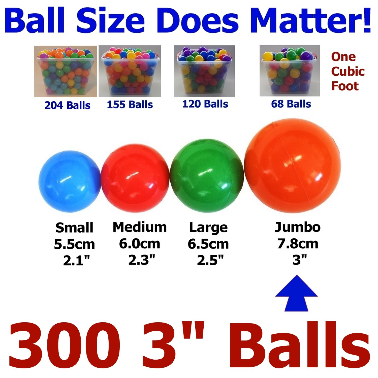 My Balls by CMS 300 pcs 3'' Jumbo Size Crush Proof Plastic Balls in Bright Colors - Phthalate Free BPA Free non-Toxic perfect amount for a Pack 'n Play Playpen HY78-300