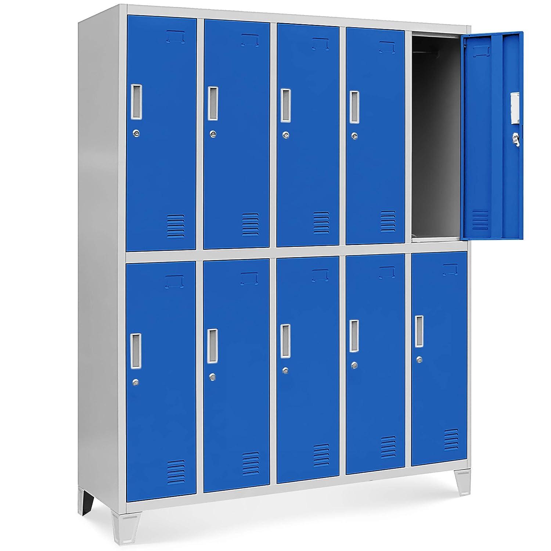 Casier vestiaire 5B2A armoire metallique 18 Compartiments revêtement en poudre 172 cm x 136 cm x 45 cm (gris/bleu)