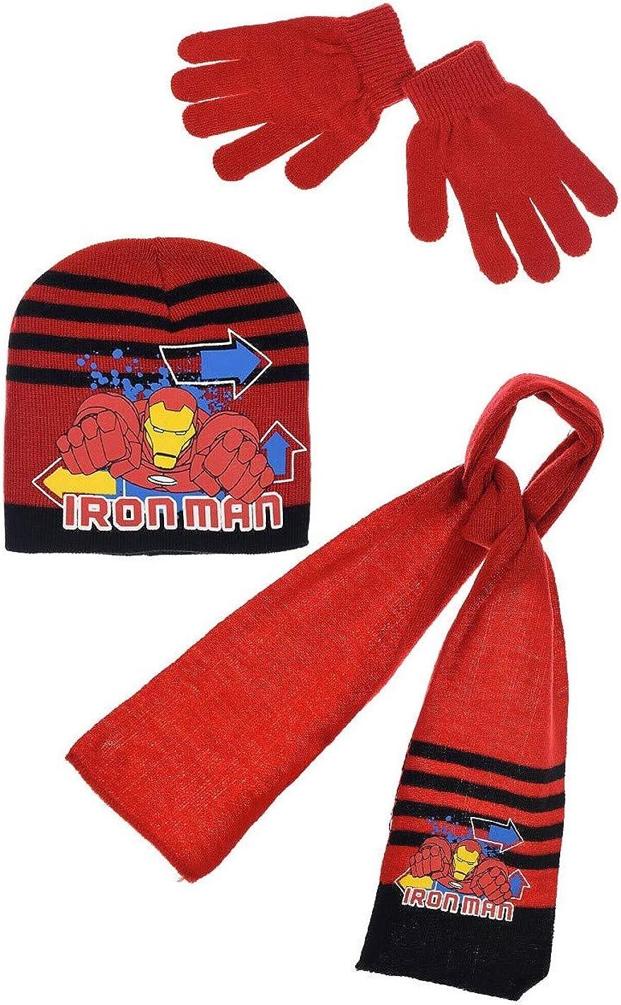 Sciarpa berretto e guanti per bambini Avengers Iron Man 3 colori da 3 a 9 anni
