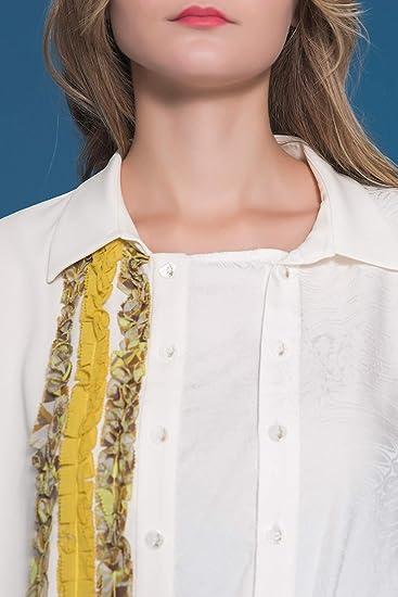 9507d403 VOA Women's Silk Asymmetric Polo Collar Long Sleeve Button Down Shirt B363  at Amazon Women's Clothing store: