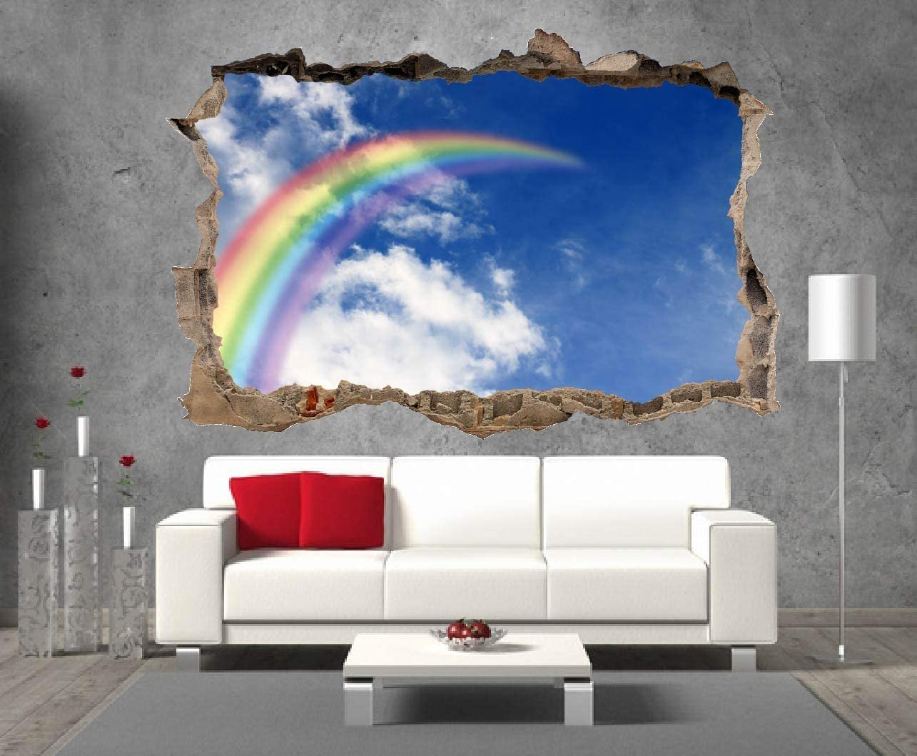 Ranbow autocollant mural 3D look-garçons filles enfants licorne papillon wall decal Z411