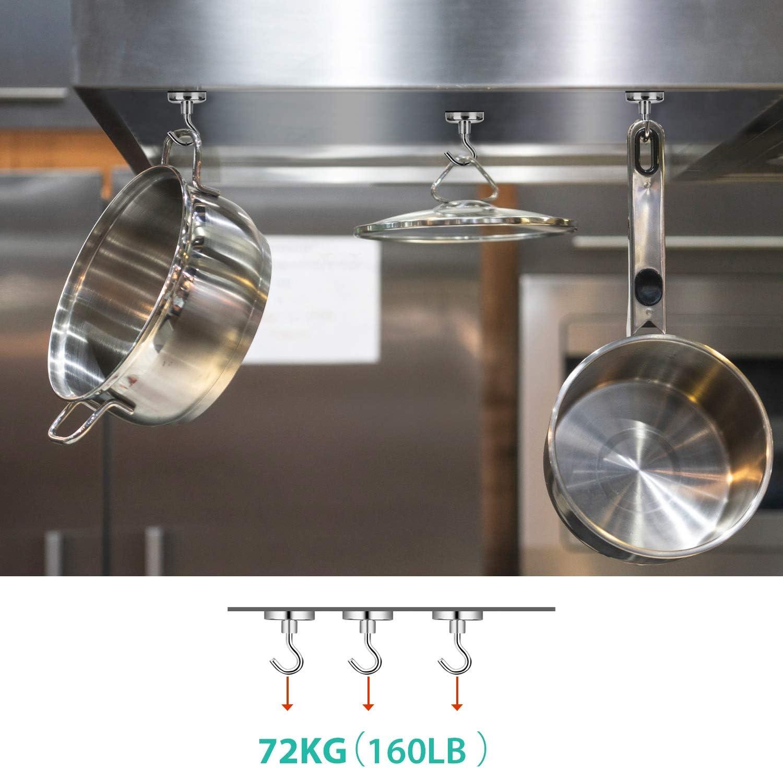 Ganchos Magn/éticos,Imanes con Gancho,neodimio ganchos magn/éticos,imanes ultra potentes ganchos de 36KG Ganchos magn/éticos de y muy robusto,Pared para los Accesorios de Cocina Almacenamiento