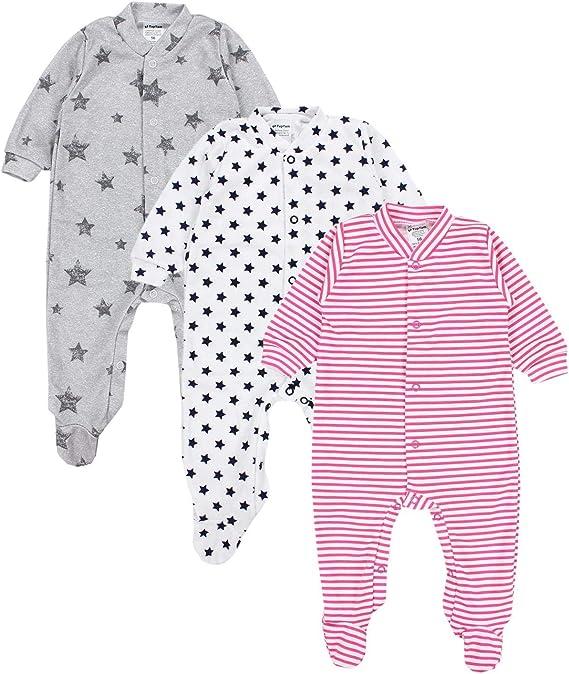 TupTam Baby M/ädchen Schlafstrampler mit Fu/ß 3er Pack