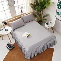 Pleated Fitted Sheet, Top Sheets Beauty Bed Cover Bed Skirt Hotel Hypoallergenic Solid Color Bed Sheet 1 Pcs-gray W70xh185cm(28x73inch)+55cm