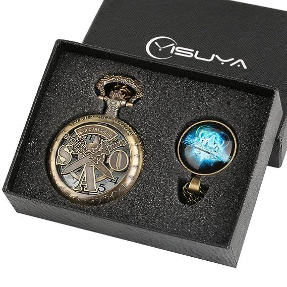 Sword Art Online - Reloj de bolsillo para niños (bronce hueco, con colgante,