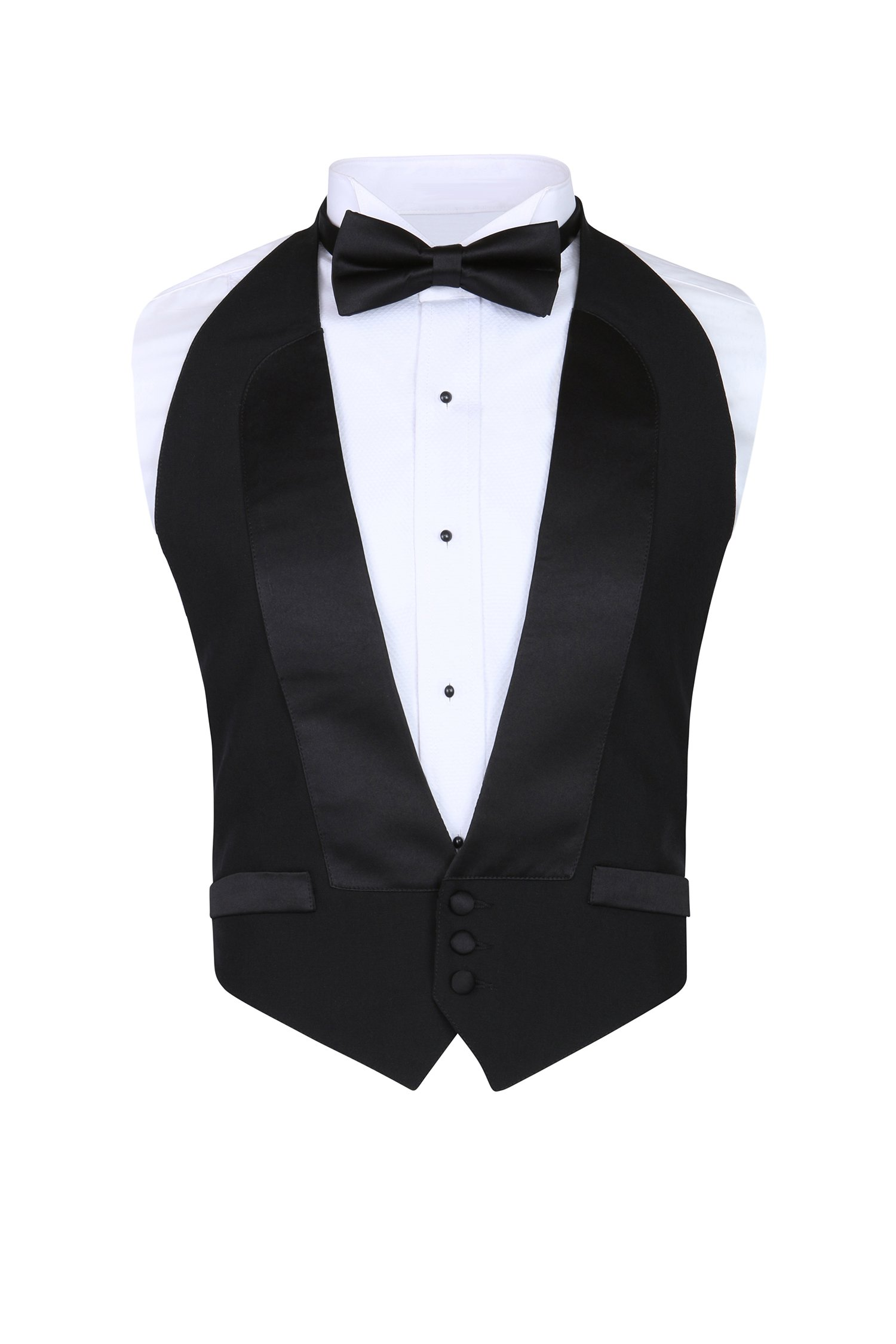 Men's Classic Formal 100% Wool Black Backless Tuxedo Vest Includes Bow Tie (Small - XLarge (Adjustable))