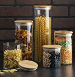 Canister Set of 5, Glass Kitchen Canisters with Airtight Bamboo Lid, Glass Storage Jars for Kitchen, Bathroom and Pantry Organization Ideal for Flour, Sugar, Coffee, Candy, Snack and More