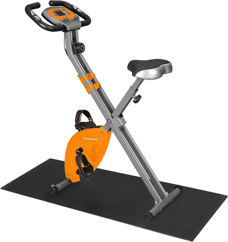 SONGMICS Bicicleta Estática, Bicicleta Fitness, Entrenador Plegable Indoor, 8 Niveles de Resistencia Magnética, con Alfombrilla, Sensor de Pulso, Soporte Telefónico, 100 kg Máx