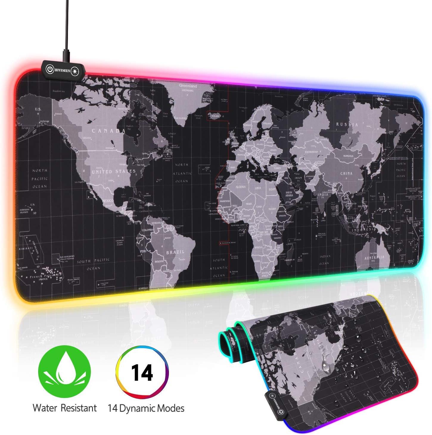 Hiveseen Alfombrilla de Ratón Gaming, 800*300mm RGB gaming mouse pad con 14 Modos Efectos de Luces, Superficie Texturizada Suave y impermeable con Base de Goma Antideslizante para Gamers,PC