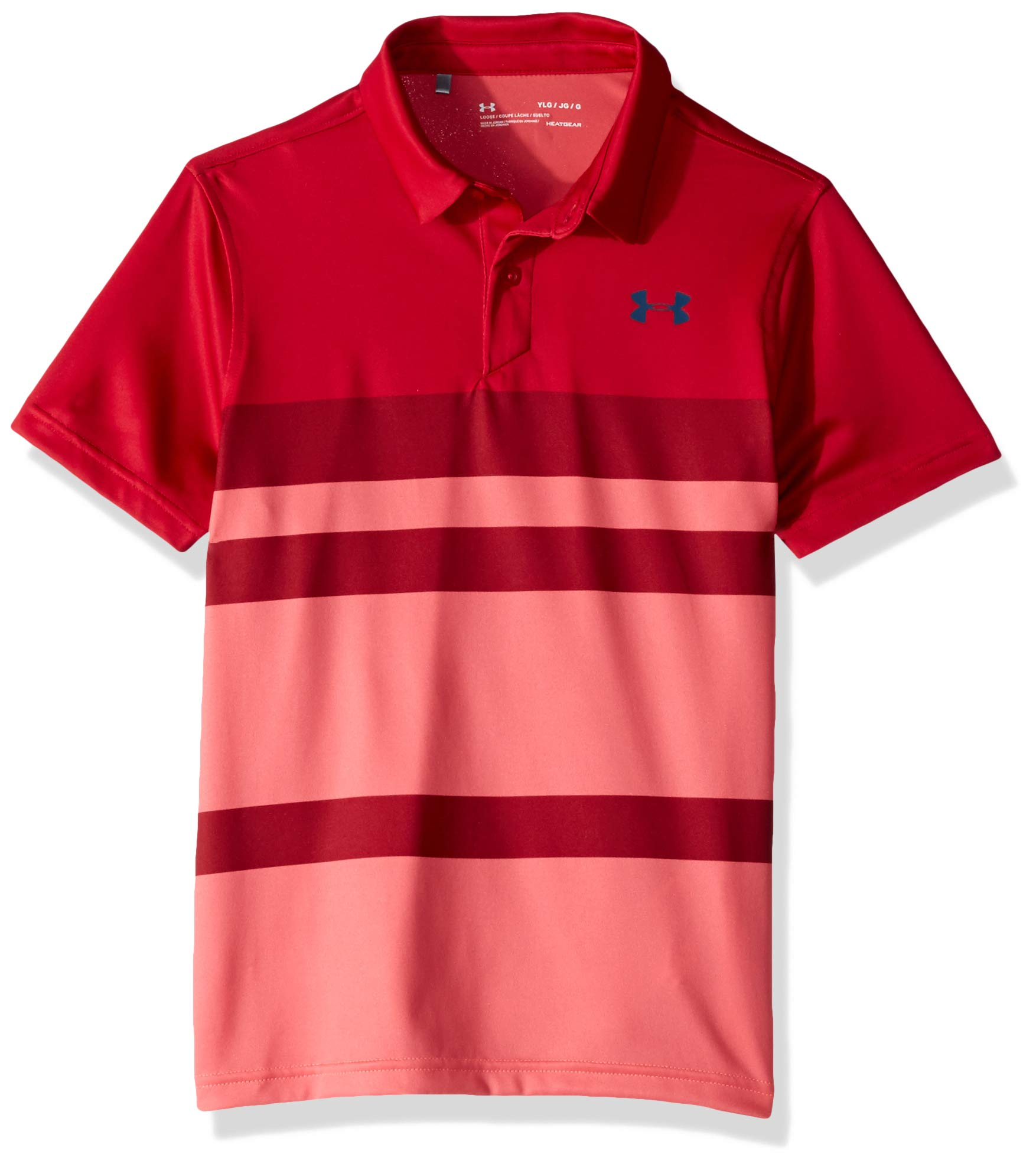 Under Armour Tour Tips Engineered Polo, Lava//Petrol Blue, Youth Small by Under Armour