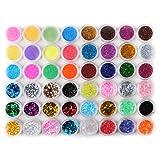 Coscelia Lot de 48 Métal Acrylique Poudre Paillettes Big Hexagone Nail Art Glitter