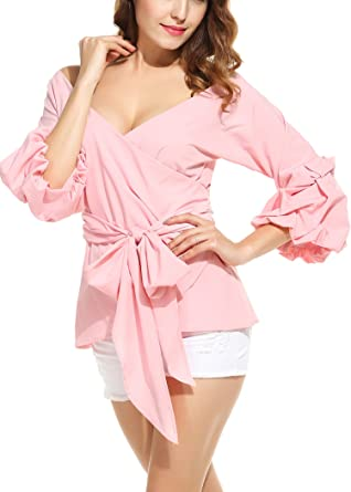 665d549c573f ANGVNS Women s Off Shoulder V-Neck Bow Waist-tie Ruffle Bell Sleeve Sweet  Blouse
