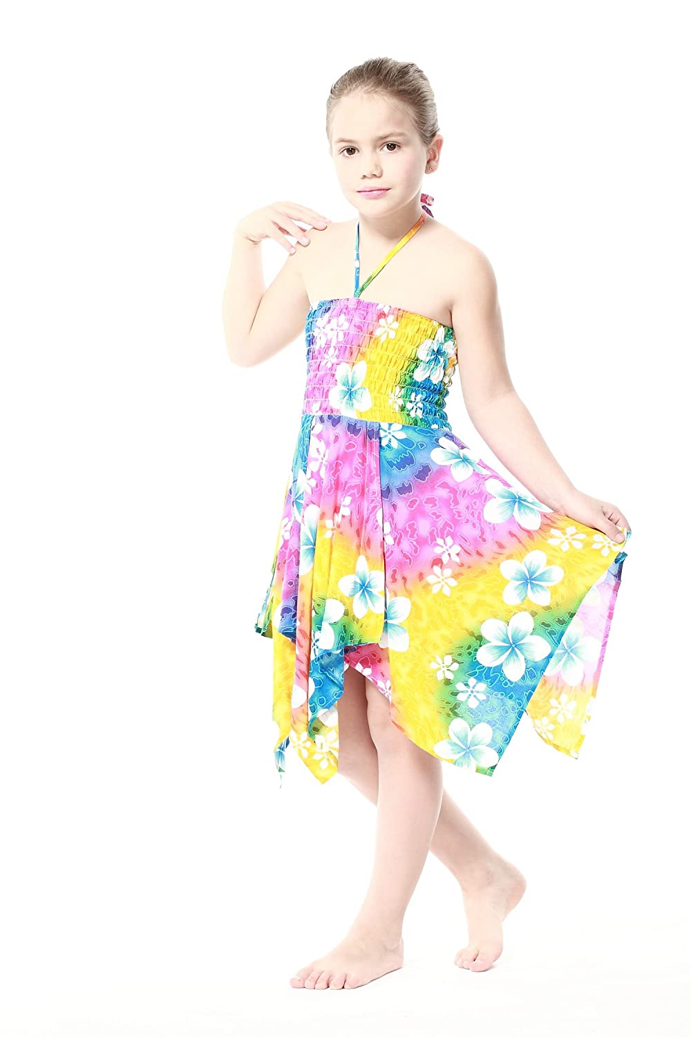 Girl Gypsy Uneven Button Hawaiian Luau Dress in Rainbow Floral Aloha Fashion 027814