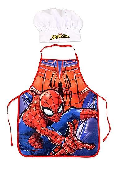 Marvel Spiderman Delantal de Cocina + Conjunto de Sombreros, Gorro de Cocinero 3-8 año