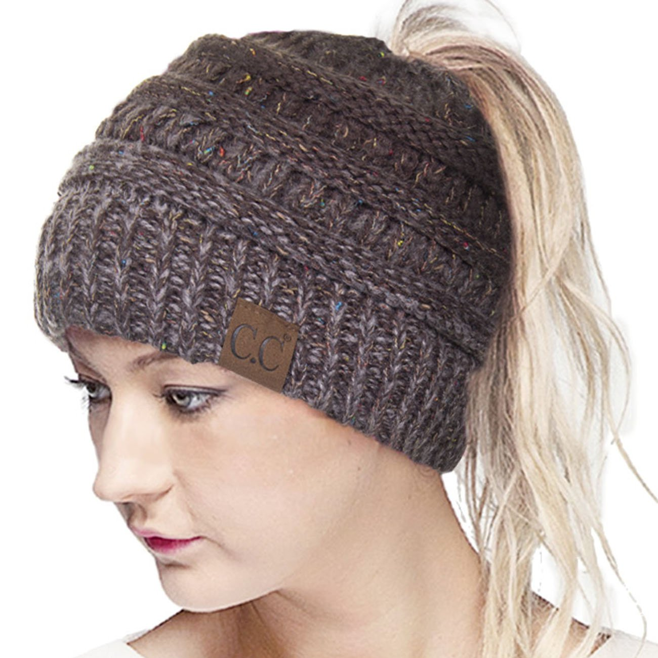 ScarvesMe CC Confetti Ombre Beanietail Ponytail Messy Bun Solid Ribbed Beanie Hat Cap (Brown)