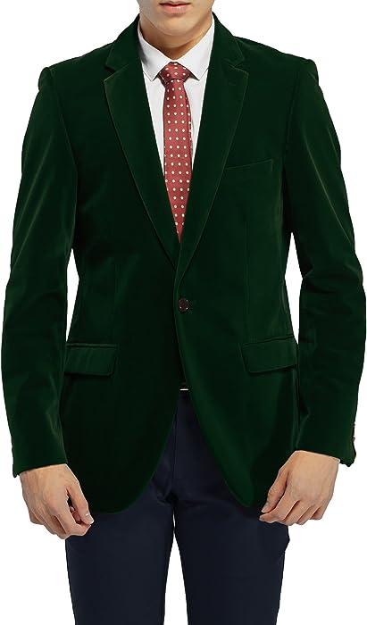 Robelli Men S Velvet Single Breasted Blazer Suit Jacket Dark Green