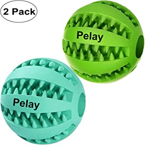 Pelay Dog Ball Toys for Pet Tooth Cleaning/Chewing/Playing,IQ Treat Ball Food Dispensing Toys of 2 Non-Toxic Soft Rubber Ball.