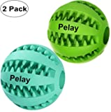 Pelay Dog Ball Toys for Pet Tooth Cleaning/Chewing/PlayingIQ Treat Ball Food Dispensing Toys of 2 Non-Toxic Soft Rubber Ball