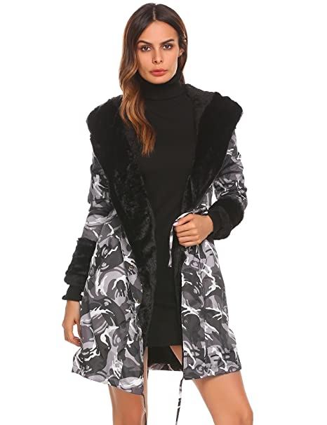 f6445312112e Fanala Women Parkas Jacket Faux Fur Lined Warm Hooded Winter Coats  Camouflage M: Amazon.ca: Clothing & Accessories