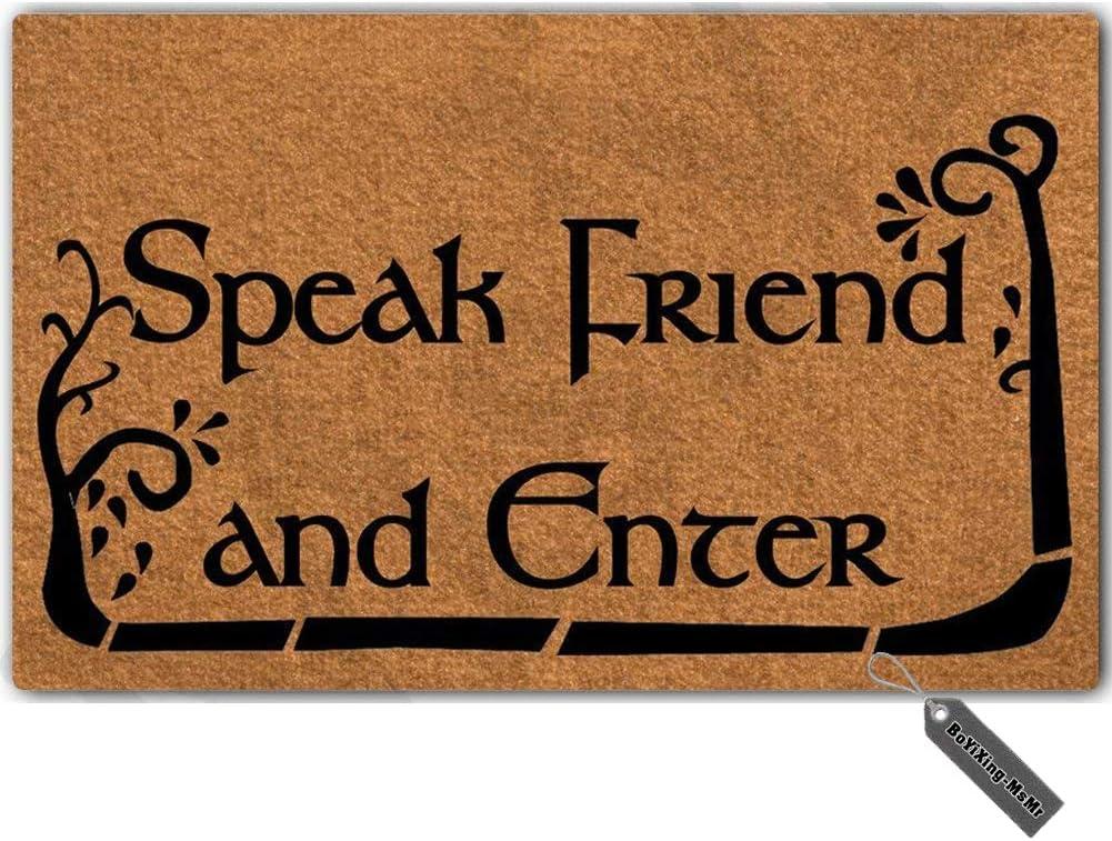 """MsMr Doormat Entrance Floor Mat Funny Doormat Speak Friend and Enter Door Mat Home Decorative Indoor Outdoor Doormat Non-Woven Fabric Top 23.6""""x15.7"""""""