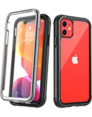 Temdan iPhone 11 Case, Full Body with Built-in Screen Protector Heavy Duty Protection Shockproof Slim Fit Cover for iPhone 11 (2019) 6.1 Inch - Black/Clear