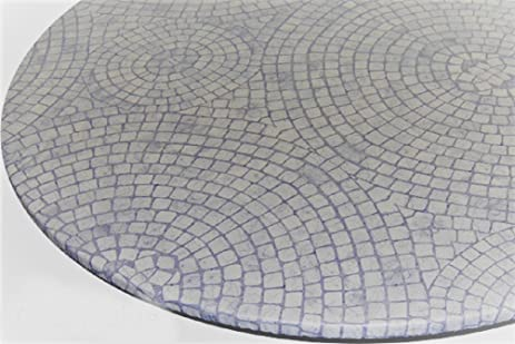 Table Cloth Round 24u0026quot; To 33u0026quot; Elastic Edge Fitted Vinyl Table Cover  Mosaic Circle