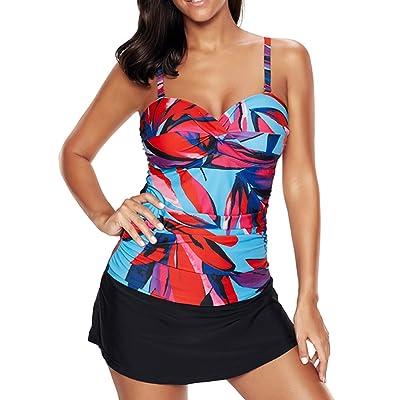 Zando Plus Size Women Floral Modest Skirtini Swimwear 2PCS 3PCS Tankini Swimsuit Bathing Suit For Spring Summer
