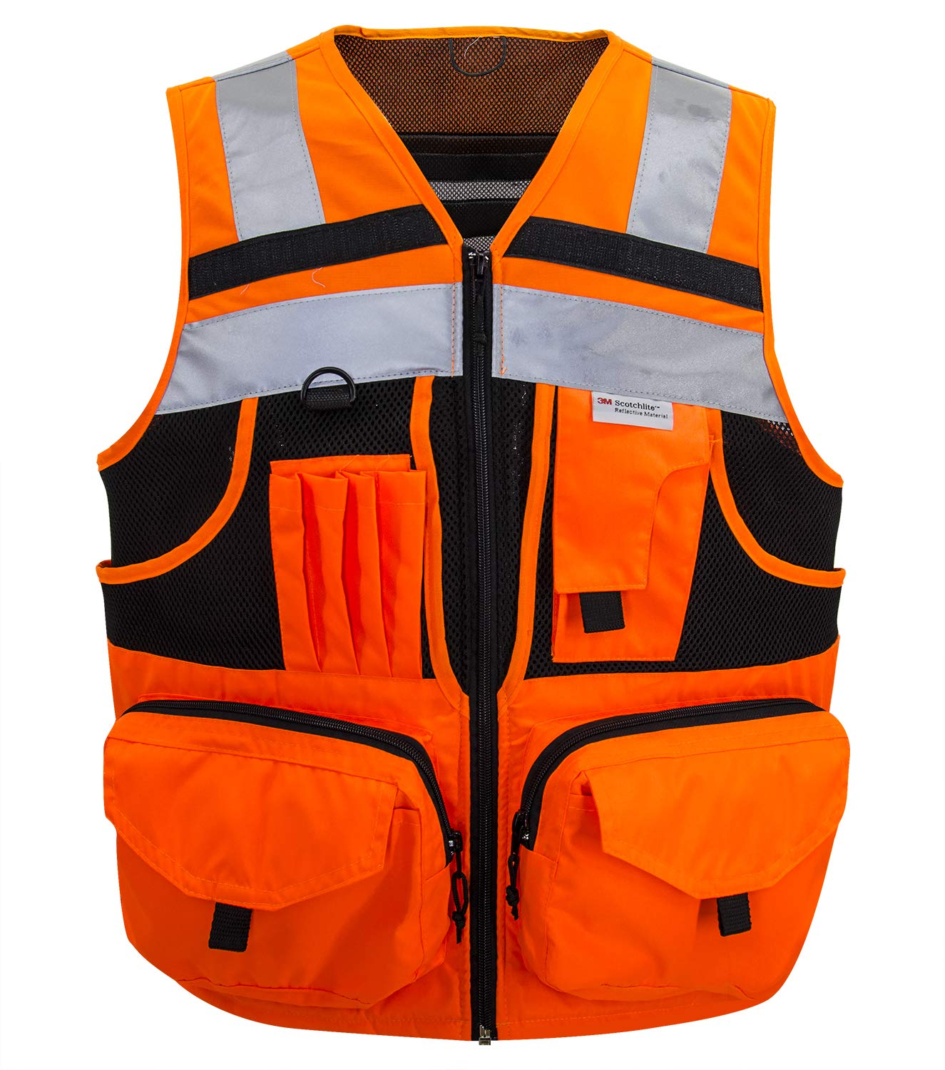 3M Reflective stripes Safety Vest Hi-vis Orange knitted Vest with 10 pockets Bright Construction Workwear for men and women. (2XL)