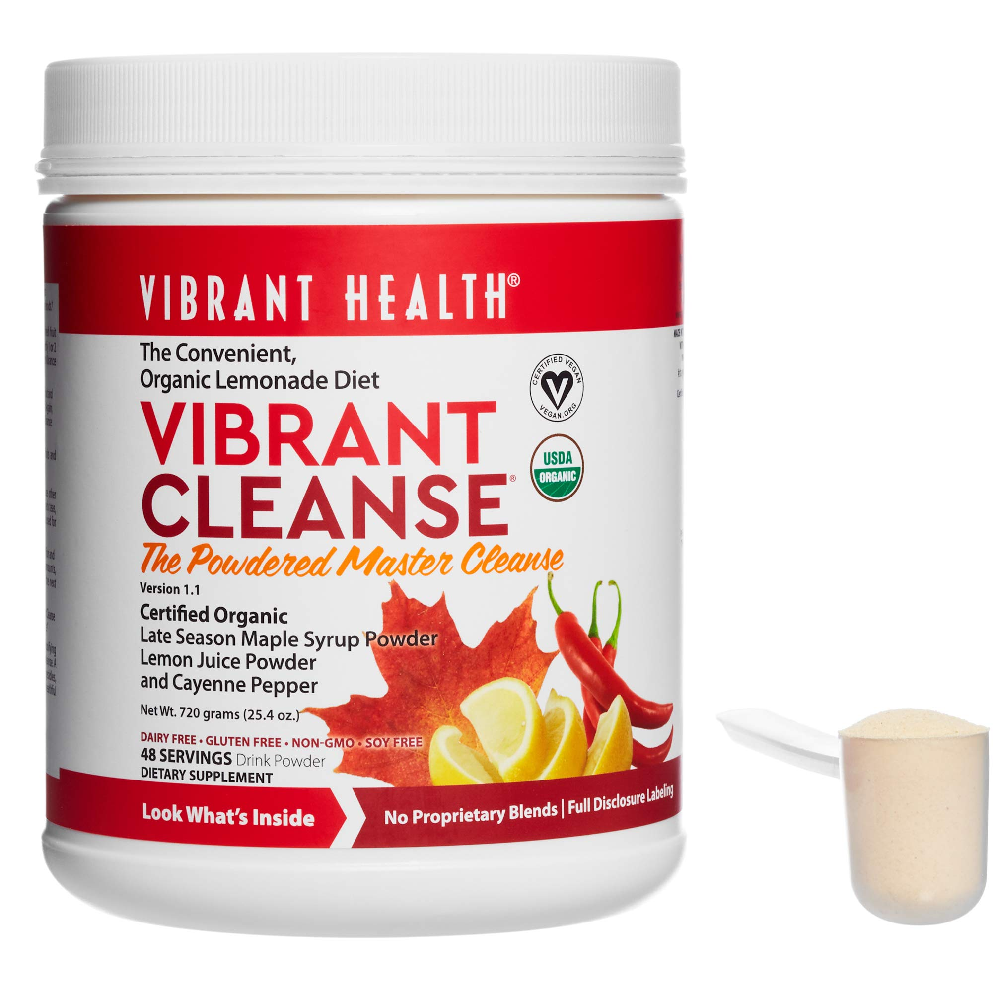 Vibrant Health - Vibrant Cleanse, Powdered Master Cleanse Supports Detoxification to Help Remove Toxins and Waste Naturally with Maple Syrup, Lemon Juice, and Cayenne Pepper, 48 Servings (FFP)