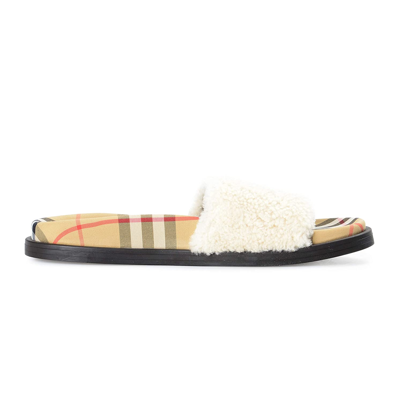 418b75bf378c1 Amazon.com | BURBERRY Women's Checkered Real Fur Sandals Flip Flops ...