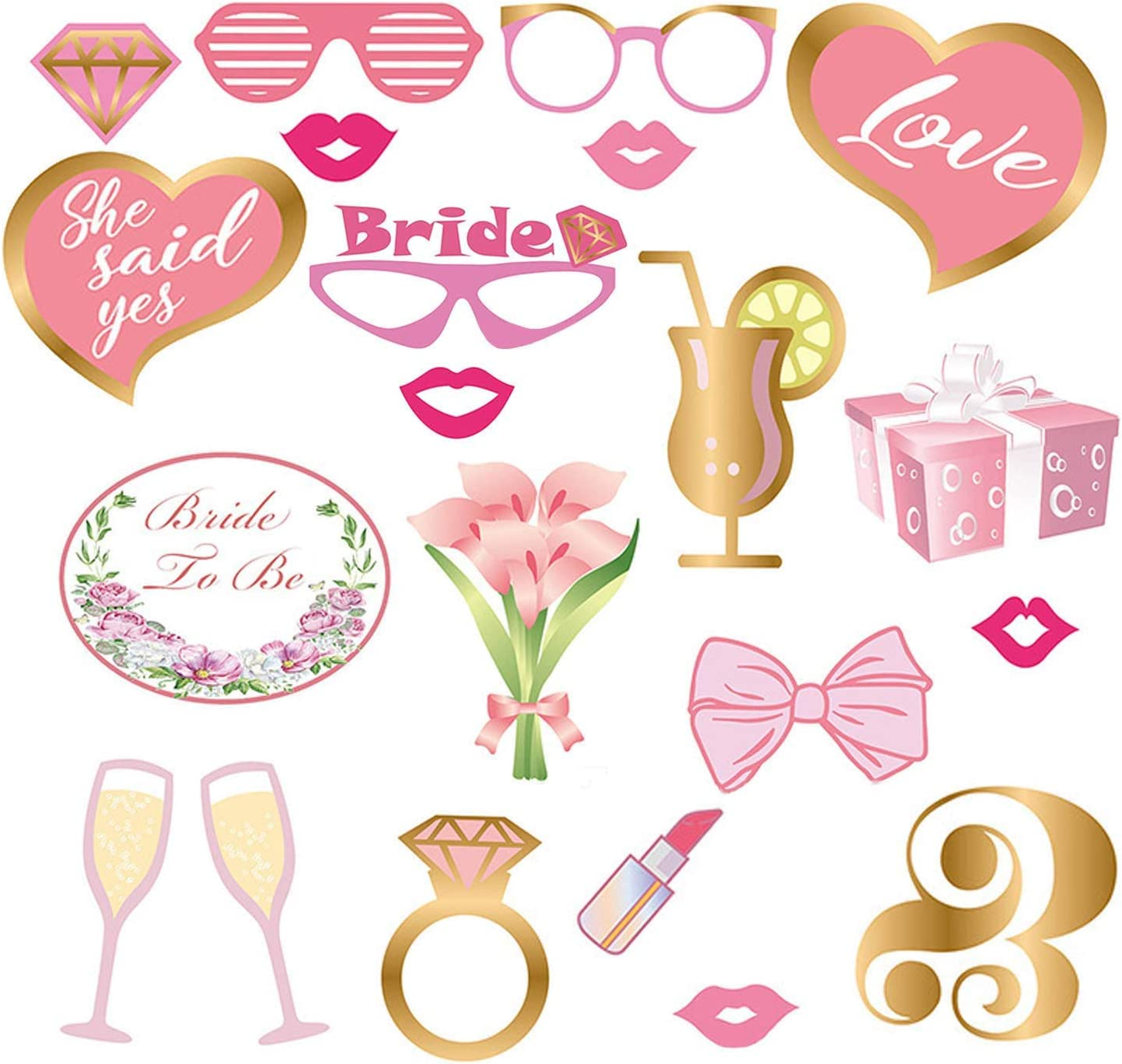 ANBET 21 PZ Matrimonio Photo Booth Puntelli Sposa per Essere Photo Posing Prop Divertente DIY Selfie Puntelli per Wedding Engagement Bridal Shower Party Favore