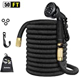 """Expandable Garden Hose, Anteko 50ft Strongest Expandable Water Hose, 8 Functions Sprayer With Double Latex Core, 3/4"""" Solid Brass Fittings, Extra Strength Fabric - IMPROVED Expanding Hose"""