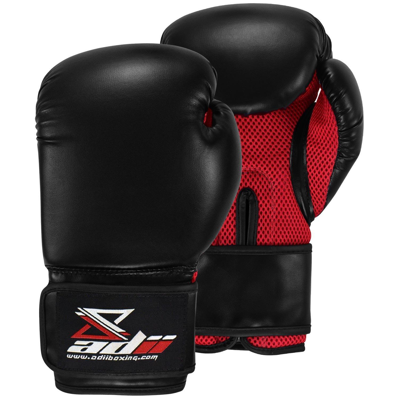 Adii all-purposeトレーニング/ボクシンググローブ| Boxing | MMA |タイ式| Kickboxing。 B01N7P1U1T ブラック/レッド 12 oz