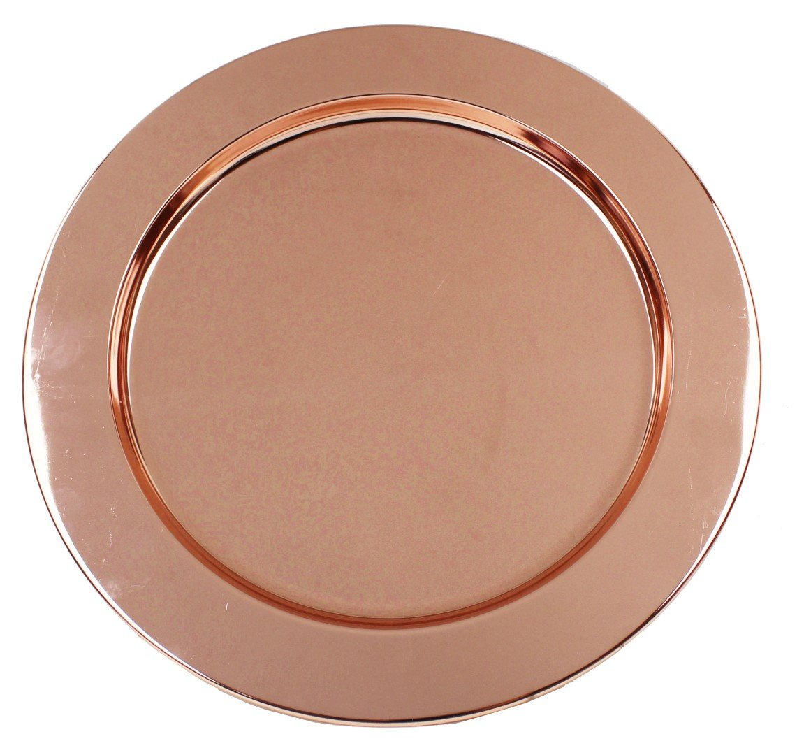 Ms Lovely Rose Gold Stainless Steel Metal Charger Plates - Set of 4-13 inch - Copper Tone