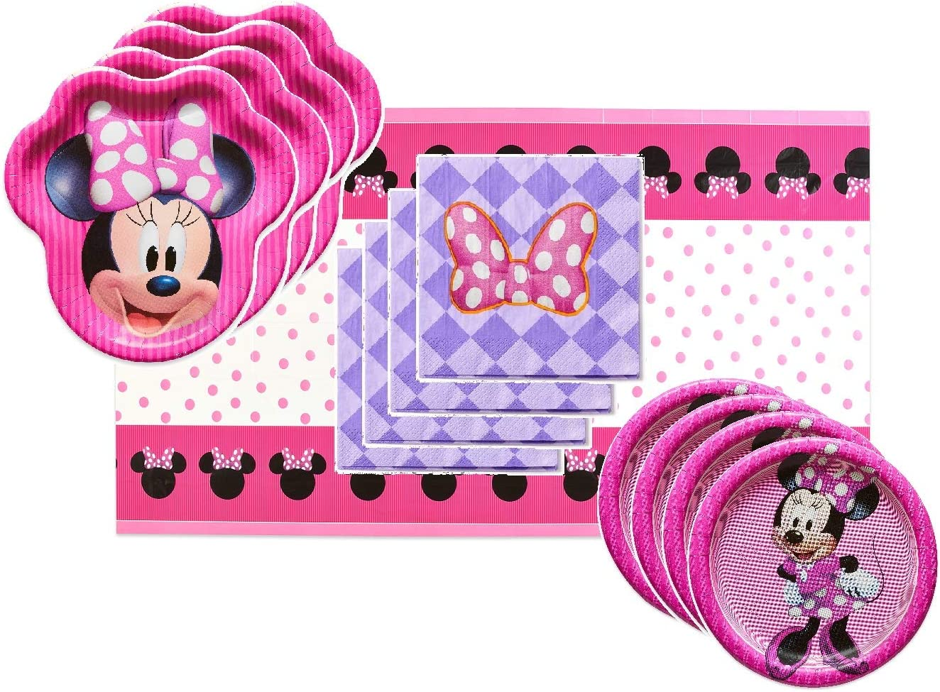 Plates, Cups, Napkins Disney Minnie Mouse Value Pack Birthday Party for 8 Guests