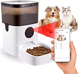 Automatic Pet Feeder, Camera Video Cats&Dogs Dispenser, WiFi Smart Feeder 2 Way Audio, Phone Control, Timed Feeder with Desiccant Bag for Dry Food, Programmable Portion Control,10s Voice Recorder