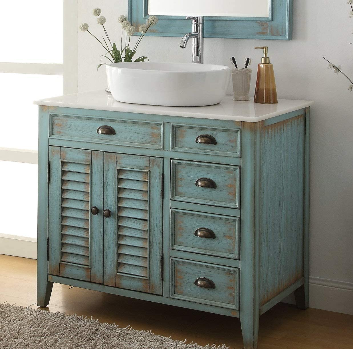 36 Benton Collection Distress Blue Abbeville Vessel Sink Bathroom Vanity CF-78886BU