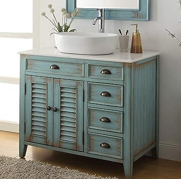 36 Benton Collection Distress Blue Abbeville Vessel Sink Bathroom Vanity Cf 78886bu Amazon Com