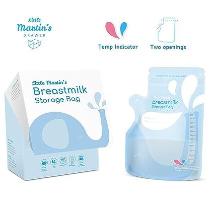 Little Martins bolsas de almacenamiento de leche materna, a prueba de fugas, bolsa de recogida segura para congelador, sin BPA, presterizado – 250 ...