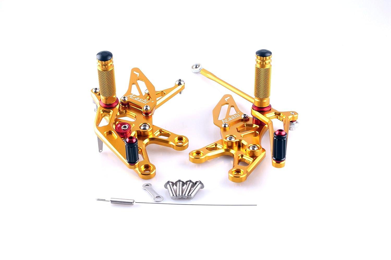 Beautyladys カワサキ バイク用バックステップキット調整式 アルミ製 CNC加工 (カワサキ Kawasaki ZX-10R 06-07年) ゴールド   B073FDG33Z