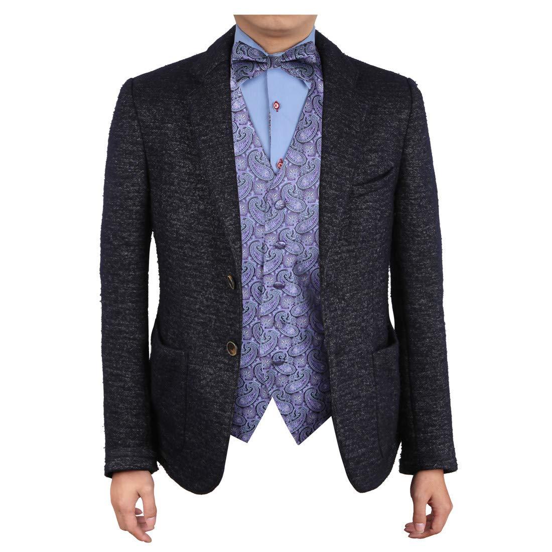 Epoint Mens Fashion Exporters Waistcoat Paisley Microfiber Vest Pre-tied Bow Tie