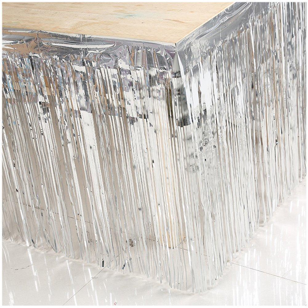 Set of 2 Metallic Metallic Foil Fringe Table Skirt(2pack, Silver)