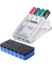 Staedtler 351 WP4 Lumocolor Whiteboardmarker, 4 Stück in aufstellbarer Staedtler Box, farblich sortiert im Bonus Pack mit blauem Löscher