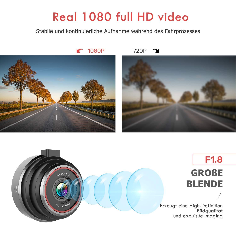 170/° Weitwinkelobjektiv FLYLINKTECH DashCam Parkmonitor 1080P Full HD Auto Kamera mit WDR Bewegungserkennung Nachtsicht und G-Sensor Loop-Aufnahme Mini DVR Fahren Rekorder