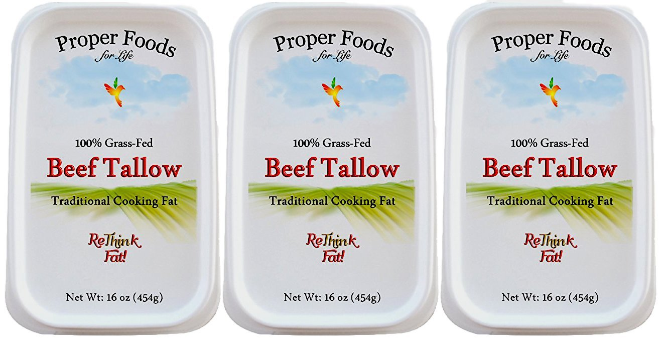 Proper Foods 100% Grass-Fed Beef Tallow, Cooking & Baking, 16 oz (Pack of 3)