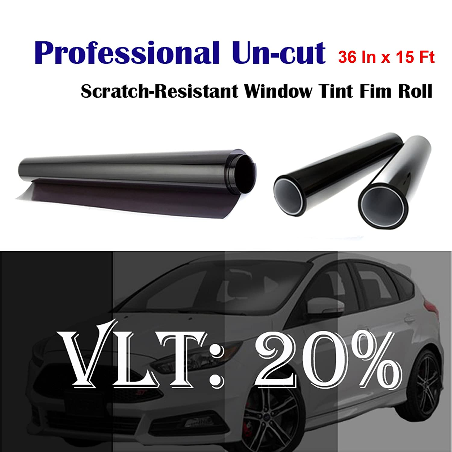 """Mkbrother Uncut Roll Window Tint Film 20% VLT 36"""" in x 15' Ft Feet Car Home Office Glasss"""